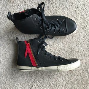 Aldo Black and Red Zipper High Top Sneakers